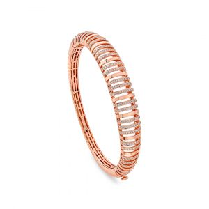 Dome shaped Diamond Bangle in 18K Rose Gold