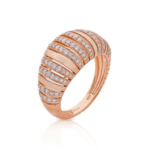 Dome shaped Diamond Ring in 18K Rose Gold