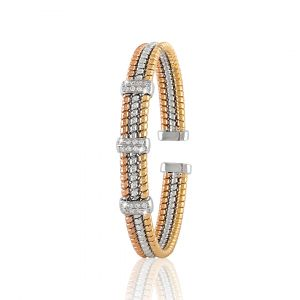 Triclor 18K gold bangle with diamonds