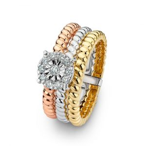 Round Diamond ring with a tricolor band